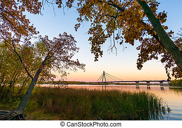 The Dnieper River at Dusk in Autumn