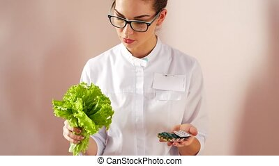 The doctor chooses between a salad or pills. Natural health...