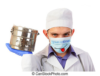The doctor holds a steam sterilizer for the tool in hand isolated on a white background