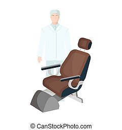 The doctor is a dentist in a white dressing gown in the office next to the chair. Medicine single icon in cartoon style vector symbol stock illustration web.