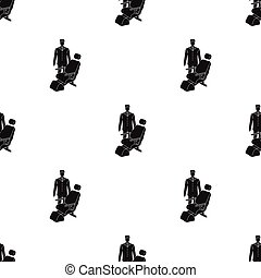 The doctor is a dentist in a white dressing gown in the office next to the chair. Medicine single icon in black style vector symbol stock illustration web.