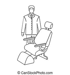 The doctor is a dentist in a white dressing gown in the office next to the chair. Medicine single icon in outline style vector symbol stock illustration web.