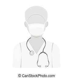 The doctor is wearing a face mask with a phonendoscope. Medicine single icon in monochrome style vector symbol stock illustration web.