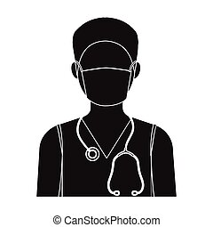 The doctor is wearing a face mask with a phonendoscope. Medicine single icon in black style vector symbol stock illustration web.