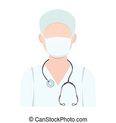 The doctor is wearing a face mask with a phonendoscope. Medicine single icon in cartoon style vector symbol stock illustration web.