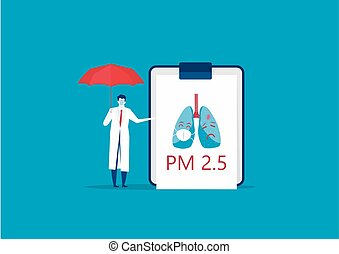 The doctor recommending that wearing a mask can protect against pm.25 . vector illustration.