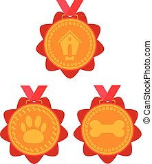 dog gold medal set. prize with red ribbon with a picture of a doghouse, bones and foot marks