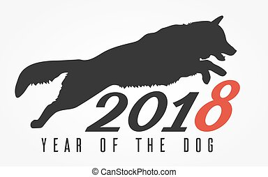 The Dog Jumps, vector illustration - Silhouette of the dog...