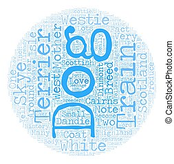 The Dog of the Highlands West Highland White Terrier text background wordcloud concept