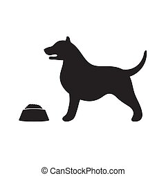 The dog silhouette icon stands at the bowl on a white isolated background. Vector image
