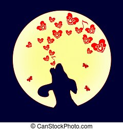 The dog was howling to the moon, a small Red heart. Vector. Illustration of love and hearts. Song of the bones on Valentine s Day.