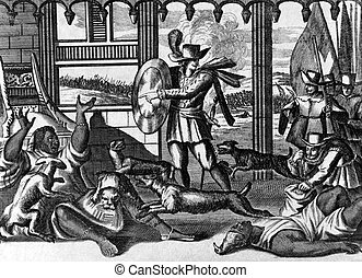 The dogs of Vasco Nunez de Balboa (1475-1519)attacking the Indians on engraving from 1700s.