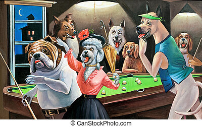 The dogs playing billiards