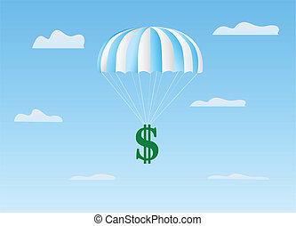 The dollar flies on a parachute