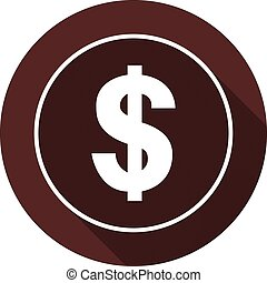 The dollar icon in the outline of a circle with a shadow circle on the dark red color, vector