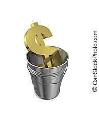 The dollar sign in metal bucket