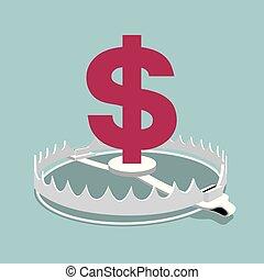 The dollar sign mark in the trap. Financial crisis concept design.