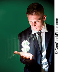 The dollar trader. - Currency trading concept with glowing ...