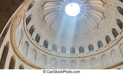 The dome of Church of the Holy Sepulchre timelapse in...