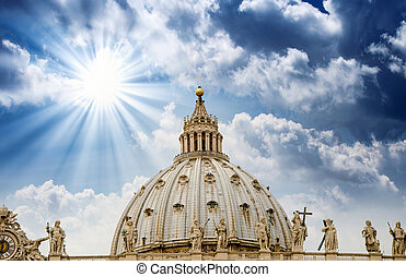 The dome of Saint Peter cathedral in Vatican City on a beautiful summer evening.