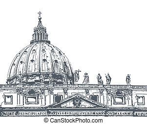 St. Peter's Cathedral, illustration - The dome of St....