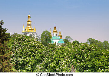 The domes of Kiev-Pechersk Lavra, Kyiv, Ukraine