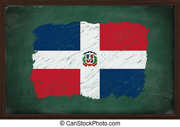 The Dominican Republic flag painted with chalk on blackboard...