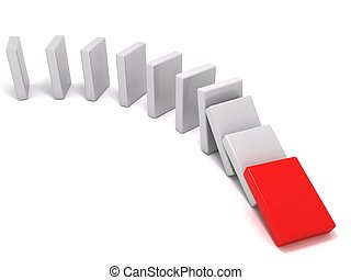 The domino effect - 3D rendering of domino pieces
