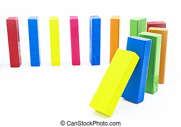 The domino effect of colorful woode