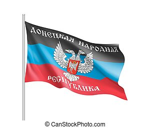 Waving flag of Donetsk People's Republic. Illustration of Europe country flag on flagpole. Vector 3d icon isolated on white background