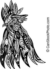 The doodle art of the head of the rooster with the beautiful zentangle