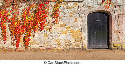 the door and stone wall
