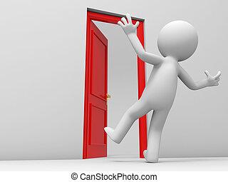 The door - Door, a surprised people and a opened door