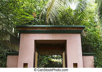 the door facade in the garden