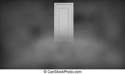 The door is in a thick fog. Mystic door opens.