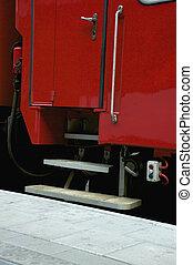 the door of a railway carriage