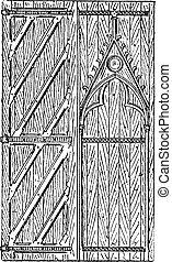 The door of Sainte-Chapelle vintage engraving - Old engraved...