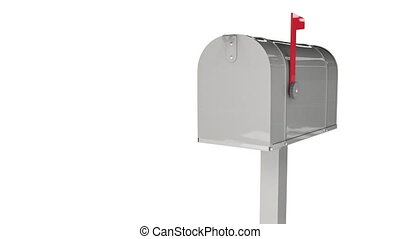 The door of the full mailbox opening and arrived letters dropping from them. Delivery mail and correspondence concept with retro postbox isolated on white background. Full inbox folder 3d animation.
