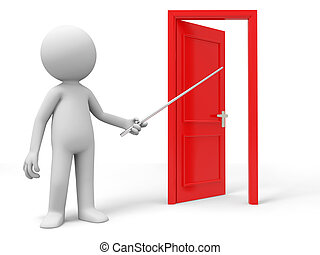 The door - Open, Point, Introduce, A person points a opened ...