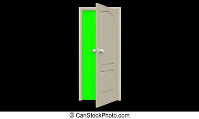 The door opens on itself. Behind the door is a chromakey. Isolated black background. 4K video quality