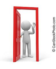 The door - Door, people and a opened door