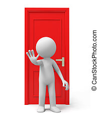 The door - Door,A man with his back to the door