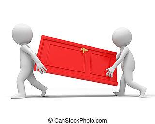 The door - Door,Cooperation,Two people carry a door