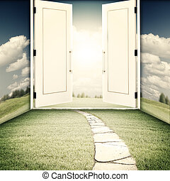 The door to another world, sci-fi and religion backgrounds