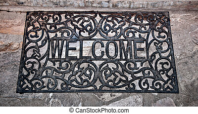 The Doormat curved steel of welcome text on floor background