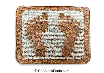 The Doormat of footmark isolated on white background