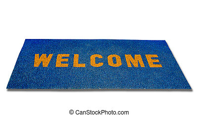 The Doormat of welcome text on wood background