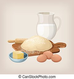 The dough on the board with a rolling pin. Eggs, butter, and milk jug.