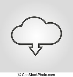 The download to cloud icon. Download symbol. Flat