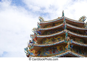 The dragon and chinese temple